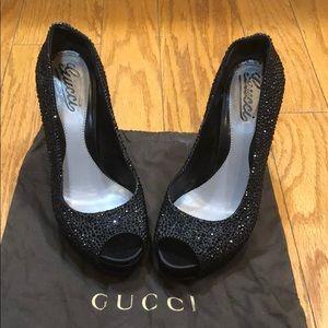Runway Gucci Sofia Crystal Embellished Peep Toe